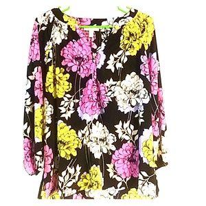 Dana Buchman sz XL blouse large  flowery print